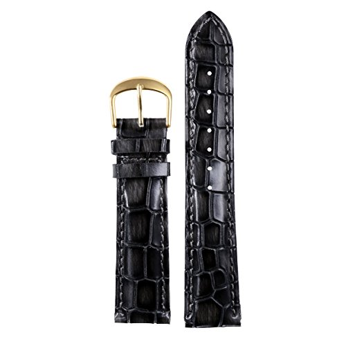 18mm Black Luxury Genuine Men's Leather Watch Bands Straps Replacements Heavy Grain Crocodile Embossed Genuine Italian Cowhide Black Padded Leather Band