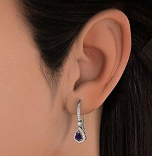 14K Or blanc 0,38CT TW Round-cut-diamond (IJ | SI) et bleu saphir Boucles d'oreilles créoles