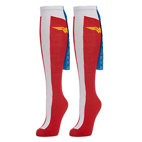 Bioworld (1 Pair) Women's Wonder Woman Knee High Socks & Capes, D.C. Comics, Ladies Shoe Size 5-10