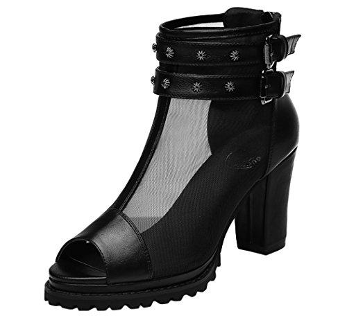 Guqitianlun Girls' Zipper Chunky Heel Mesh Peep Toe Ankle Booties
