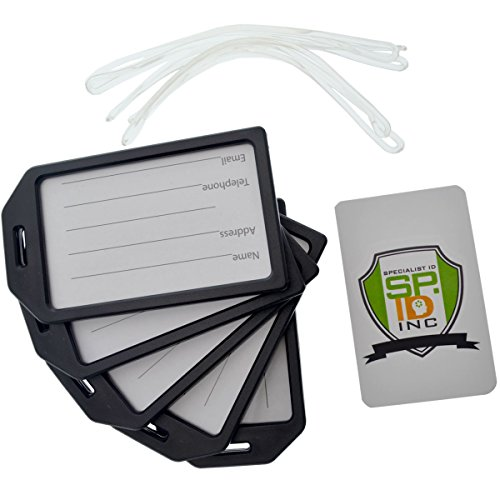 5 Pack - Premium Rigid Airline Luggage Tag Holders with 6