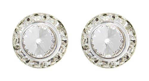 #12535 11mm Rondel with Rivoli Button Earrings - Crystal ()