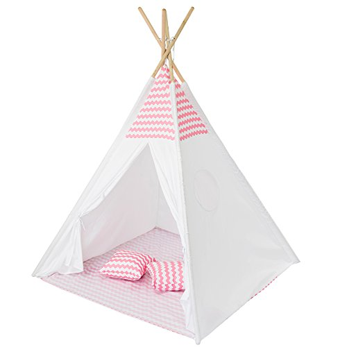 Boyoo Kids Tent Teepee Tent Play Tent with Mat Childrens Playhouse for Indoor and Outdoor Use with Portable Carry Bag, Pink