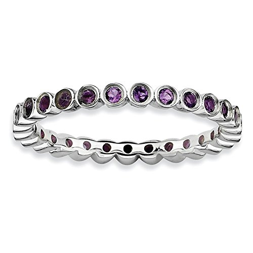 Sterling Silver Stackable Expressions Amethyst Ring Size 6 by Jewels By Lux
