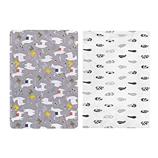 """ALVABABY Pack n Play Baby Play Playard Sheets, 2pcs 100% Organic Cotton,Large 27x39x4"""",Soft and Light,Portable Crib Sheet for Boys and Girls Player Matteress 2FTPSW05"""