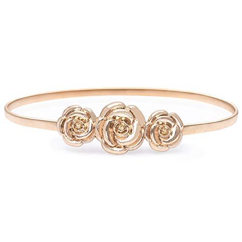 (HaoPiDai Gold Waist Belts For Women Dress Flower Luxury Elastic Metal Chain Belt By Designer)
