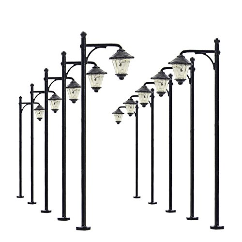 LYM10 10 pcs Model Railway Bulb Lamppost Lamps 6cm Street Lgihts HO Scale 12V New