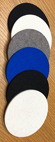 Carolina Panther colors Merino wool coasters Round x 6 -