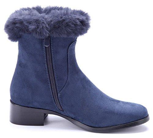 Schuhtempel24 Damen Schuhe Winterstiefeletten Stiefel Boots Blockabsatz 4 cm Blau