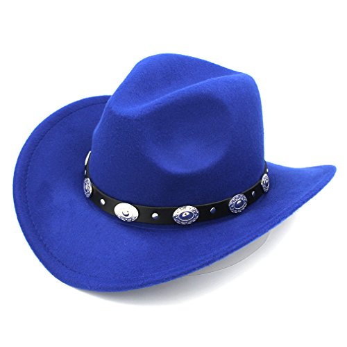 Elee Womem Men Wool Blend Western Cowboy Hat Wide Brim Cowgirl Jazz Cap Leather Band (Royal Blue)