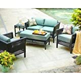 PATIO FURNITURE OUTDOOR LAWN & GARDEN HAMPTON BAY FENTON ALL WEATHER RESIN WICKER PEACOCK & JAVA CUSHIONS BLUE 4 PC