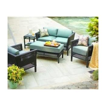 This Item PATIO FURNITURE OUTDOOR LAWN U0026 GARDEN HAMPTON BAY FENTON ALL  WEATHER RESIN WICKER PEACOCK U0026 JAVA CUSHIONS BLUE 4 PC