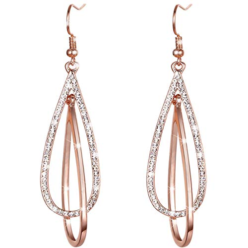 LOVE&CLOVER Crystal Drop Dangle Earrings Elliptical Ring Teardrop Dangling Earrings for Women Girls Wedding Gift Rose Gold