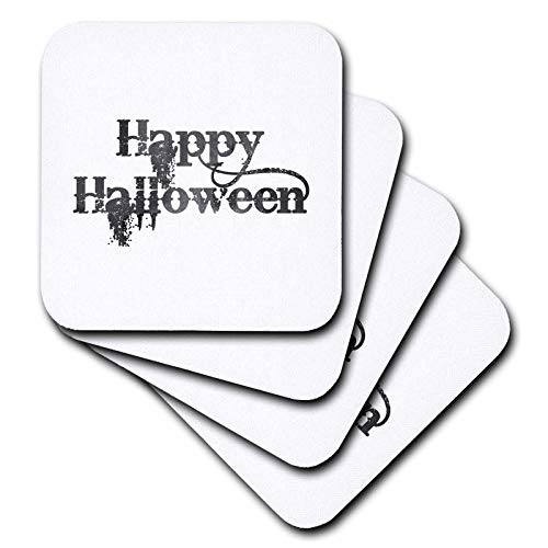 3dRose InspirationzStore - Occasions - Happy Halloween grunge grungy scary writing font dark grey text - set of 4 Ceramic Tile Coasters (cst_318144_3) -