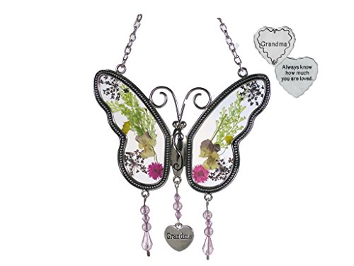 Banberry Designs Grandma Suncatcher and Pocket Token - Dried Flowers Butterfly Sun Catcher with a Grandma Charm and a Grandmother Heart Pocket Token - Always Know How Much You are Loved by Banberry Designs