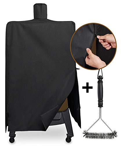 (SHINESTAR SS73550 Grill Cover for Pit Boss PBV5P1 Pellet Smoker, Heavy Duty and Waterproof Grill Cover Fits for Pit Boss Model Series 4 PBV4PS1 Smoker with Zipper)