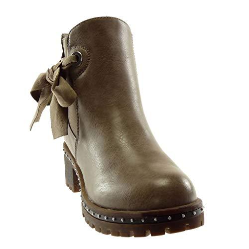 Intérieur Bloc Slip Mode Haut Femme Boots Kaki Chelsea Noeud Bottine HxH8z7fwq