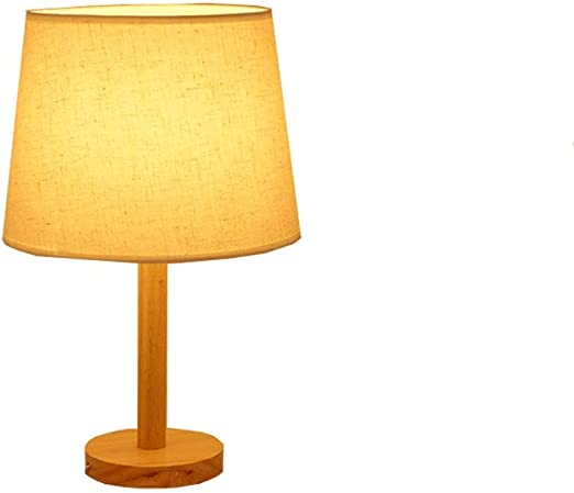 Lámpara de mesa, lámpara de mesilla de madera, luz de dormitorio ...