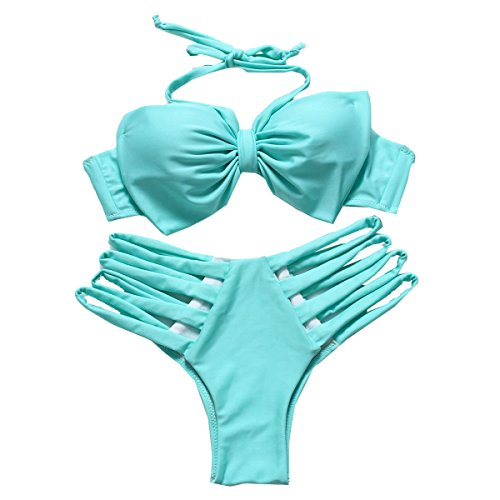Cuidado De Acero KUWOMINI.Bikini Reunido En Europa Y Los Estados Unidos Lindo Traje De Baño Bikini LakeGreen