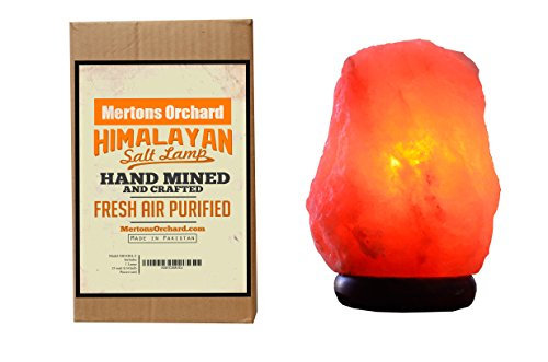 Himalayan Salt Lamp By Mertons Orchard, 7-to-8 inch, 5-to-6 Pounds, With Acacia Wood Base,Bulb and On/Off Dimmer Control,6 foot UL-Approved Electric C…