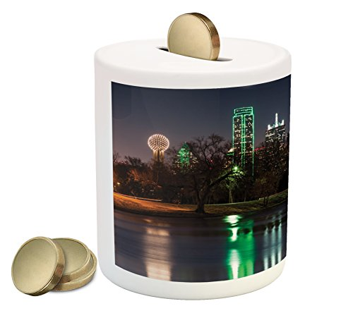 (Lunarable USA Piggy Bank, Dallas City Skyline Reflected in a Lake Park with Trees at Night Landscape Scenery, Printed Ceramic Coin Bank Money Box for Cash Saving, Multicolor)