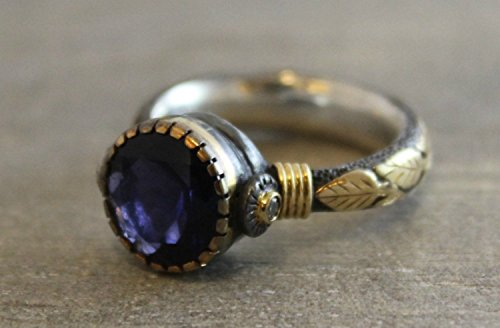 Iolite Oxidized Sterling Silver Mixed Metals 18kt Yellow Gold Ring, Size 6.5 mother's day gift idea