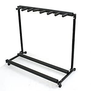 zeny 7 multi guitar bass folding stand stage 7 holder rack guitar stand musical. Black Bedroom Furniture Sets. Home Design Ideas