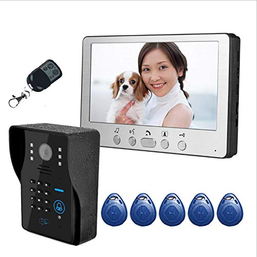 7 Inches Video Door Phone Intercome Doorbell Video Entry Intercom Kit With Key 1-Camera 1-Monitor Touch Button ID RFID Cards/Code Unlock Multifunctional Night Vision -