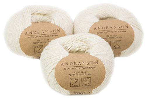 n Skeins #4 Worsted, Afghan, Aran - SET OF 3 (Ivory) - AndeanSun - Luxuriously soft for knitting, crocheting-Great for baby garments, scarves, and hats - IVORY ()
