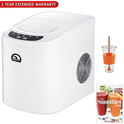 Igloo Countertop Ice Maker With 26lb Per 24 Hours Capacity Chill Kit With Insulated Cold Cup, Smoothie Bible and One Year Warranty Extension (White)