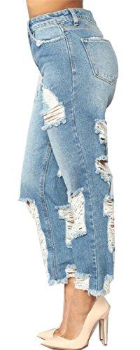Pantalon Bodycon clair Cut Dtruit Bleu dcontract Jeans Skinny Femmes Off dchires Distressed Pantalons Denim 8gFxFX