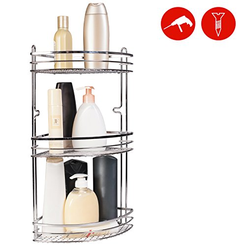 Bathroom Corner Rack - ArtMoon Illit Triple Bathroom Corner Rack 20X28X46H cm Chrome Plated Steel