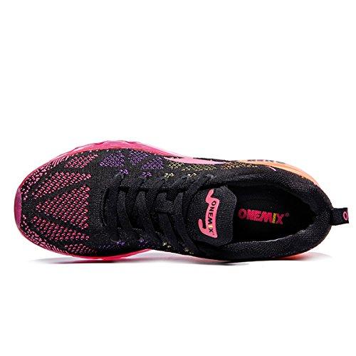 Onemix Dames Lichtgewicht Luchtkussen Outdoor Sport Hardloopschoenen Zwart Rood