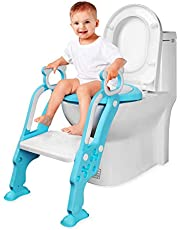 Potty Toilet Training Seat Baby Toddler Kid Toilet Trainer Potty Chair Trainer with Step Stool Ladder for Boy and Girl
