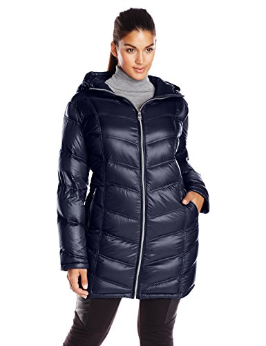 Calvin Klein Women's Plus-Size Mid-Length Packable Chevron Down Coat Plus, Shine Dark Indigo, -
