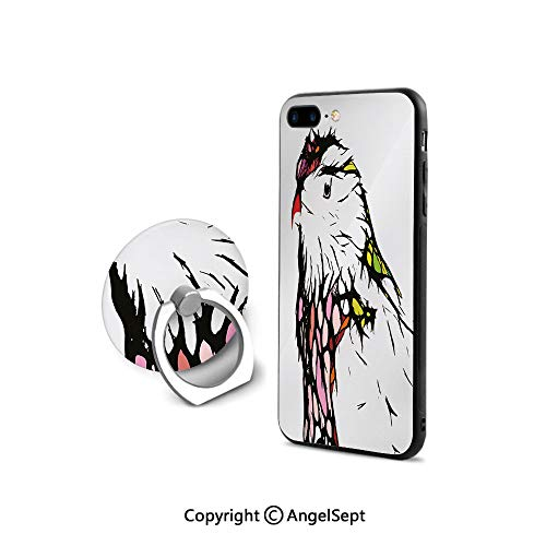 iPhone 7/8 Case with 360°Degree Swivel Ring,Chicken BirdPortrait Sketch with Colorful Details Caricature Pet Zoo Image Decorative,Shockproof Protection,Multicolor