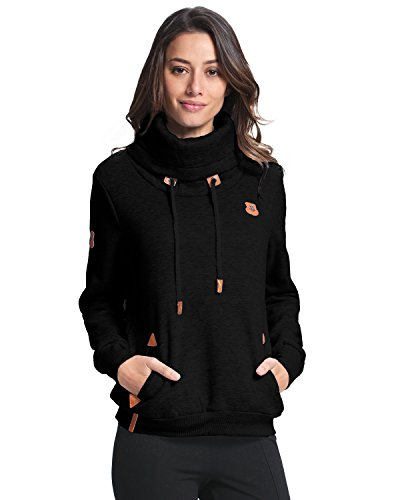 StyleDome Women's Hoodies Jumper Long Sleeve High Necked Pocket Casual Sweater Black US 10