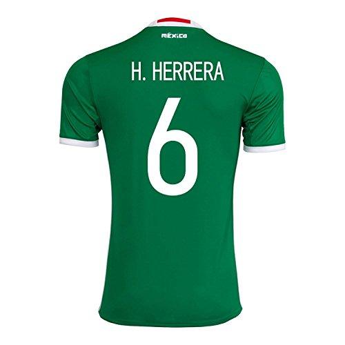 黒自慢犯すadidas H. Herrera #6 Mexico Home Jersey Copa America Centenario 2016 - YOUTH/サッカーユニフォーム メキシコ ホーム用 ジュニア向け
