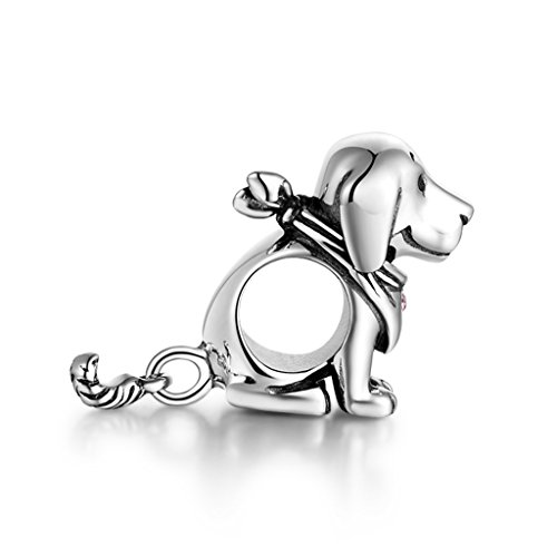 925 Sterling Silver Puppy Dog Animal Charms Crystal Jewelry Bead Fit Bracelets for Women