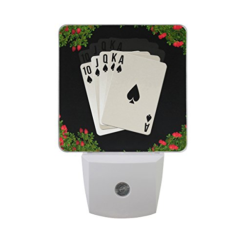 Printing Poker Flower Patterns on Plug-In LED Night Light Warm White Nightlight for Bedroom Bathroom Hallway Stairways(0.5W 2-Pack) by FeiHuang