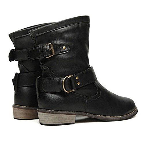 Bota de cuero marrón oscuro Bota Antideslizante Biker PU Zapatos plana Highdas mujer de de de Zapatos medio locomotora Botas Bota negro de Botas Martin montar tacón HSgdgwzx