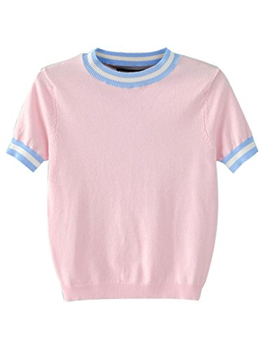 PERSUN Women's Striped Trims Ribbed Crop Top,Pink,Small