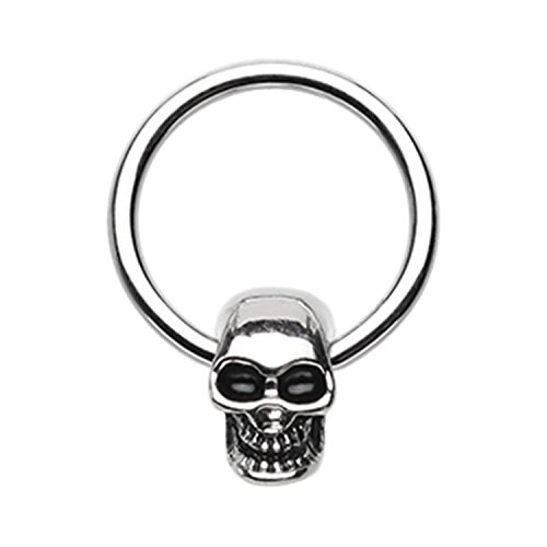 Little Aiden Skeleton Skull Head Captive Bead Cartilage Ring Size 16GA 3/8