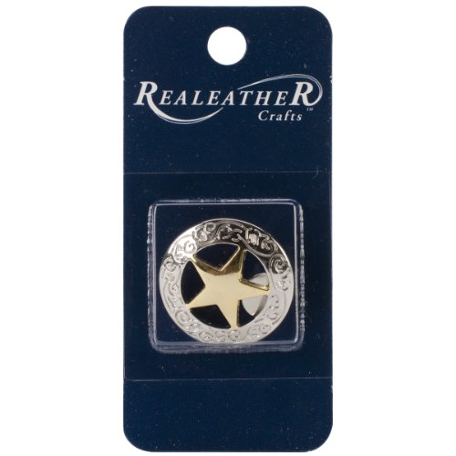Realeather Crafts BC461-21 Concho, Silver/Gold Engraved Star, 1-Inch