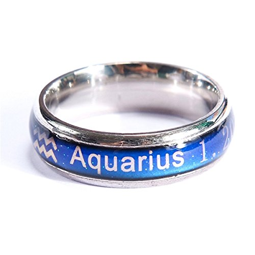 - Arsmt Aquarius Mood Ring Titanium Steel Color Change Stress Reliever Feeling Emotion Mood Necklace Pendant With Box