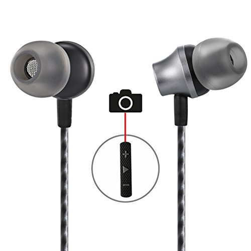 in-Ear Earbuds with Selfie, Kicoeoy Wired Earphones Stereo Bass Headphones Noise Cancelling Headset with Built-in Mic and Volume Control 3 Extra Silicone Ear Buds(S/M/L) (Black)