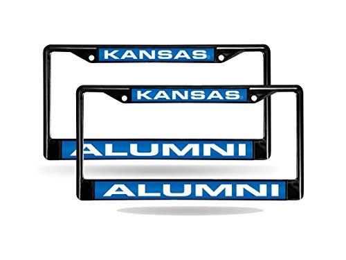 Rico Kansas Jayhawks Alumni NCAA Black Metal (2) Laser Cut License Plate Frame Set