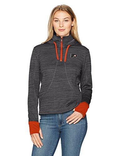 NHL Philadelphia Flyers Adult Women NHL Women's Ots Annabelle 1/4-Zip Pullover Hoodie, X-Large, Jet Black