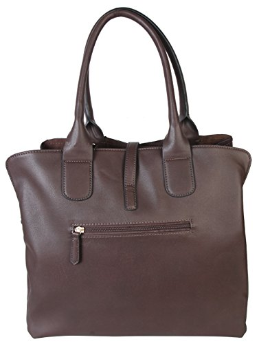 Handbag Triple Khaki 2472 Leather Rimen OM LhKpO1sFnU Closure Compartments Zipper Womens Tote amp; PU nqBpC