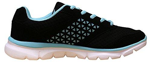 Hans Womens Woven Breathable Print Platform Fashion Trainer Sneaker Black/Light Blue HkILlT